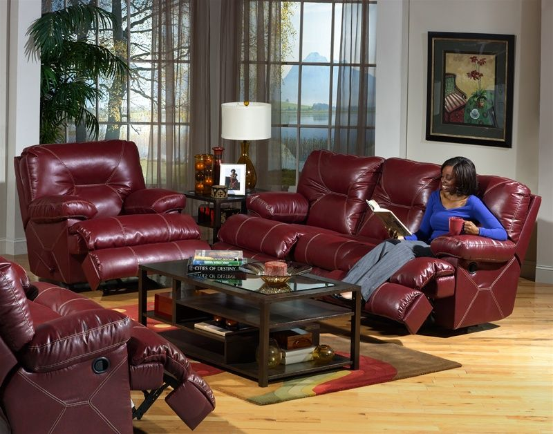Cortez 2 Piece Dual Reclining Sofa Set in Dark Red Leather ...