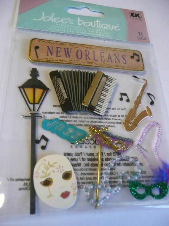 NEW ORLEANS MARDI GRAS Scrapbooking layout ideas!! Jolees Boutique Scrapbooking Stickers by ExpressionsofFaith.etsy.com, $2.99