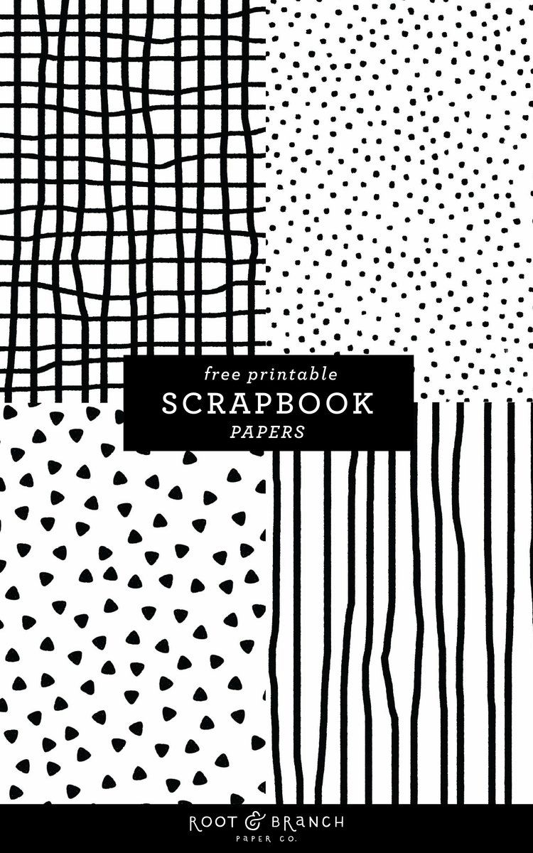 Free Printable Scrapbook Papers: Black and White Prints — Root & Branch Paper Co.