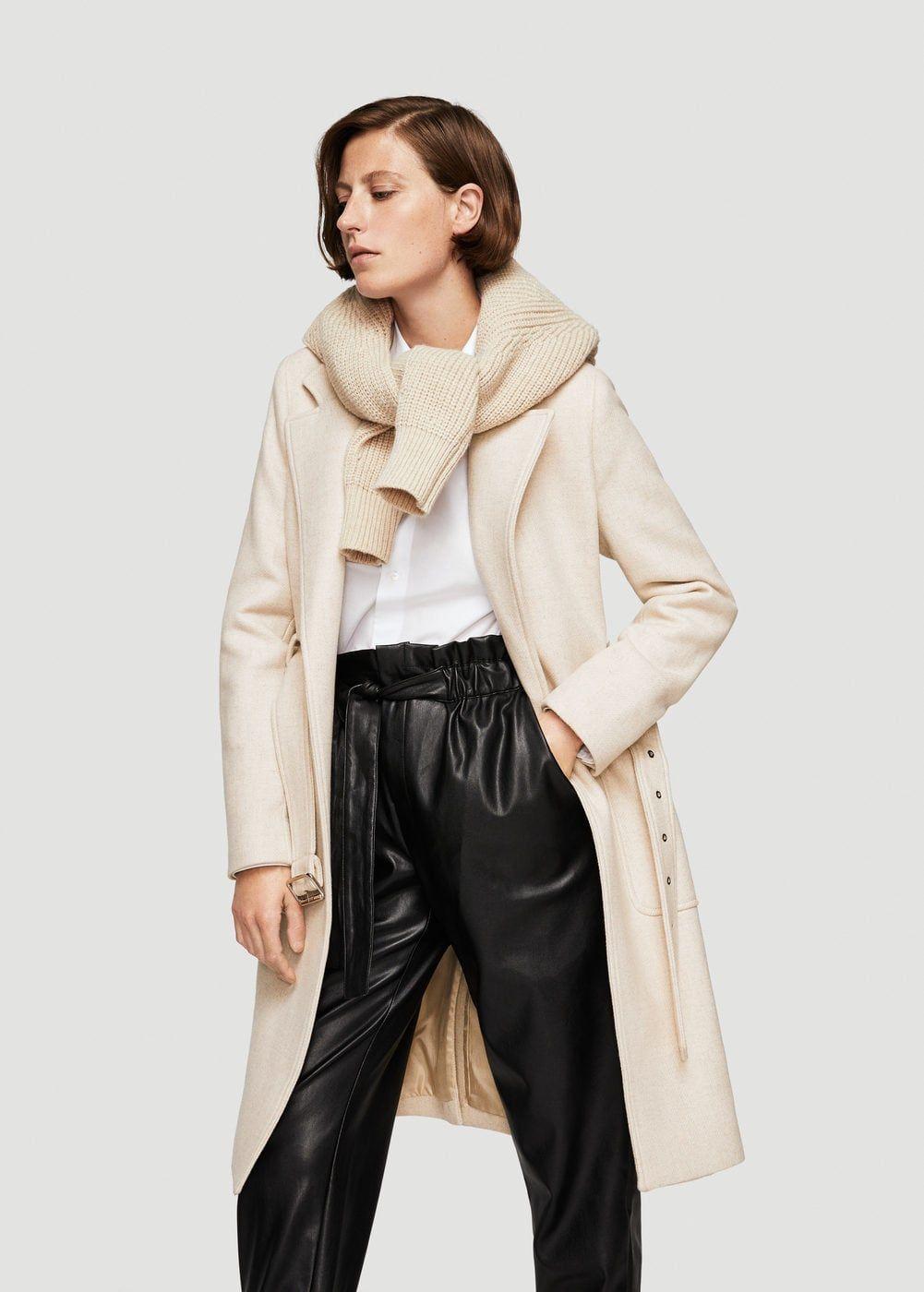 Wollen jas met ceintuur - Dames | MANGO Nederland