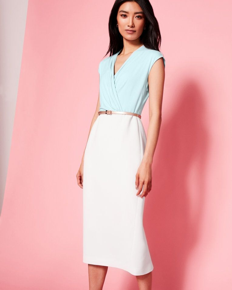 Wrap Front Midi Dress Pale Blue Dresses Ted Baker With Images Pale Blue Dresses Dresses Fashion