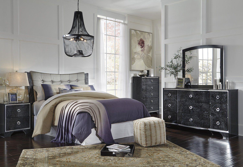 Ashley Amrothi 4 PC E King UPH Panel Bedroom Set In Black