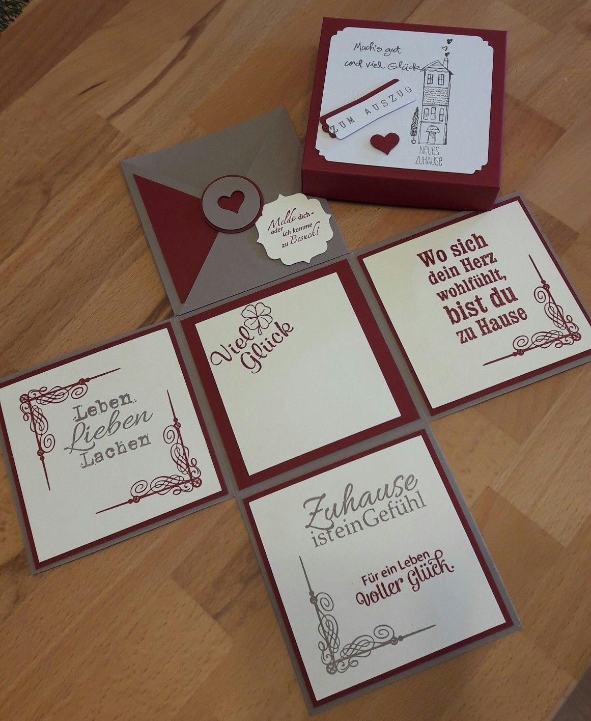 Stampin up mit Herzen- Geschenkverpackung Explosionsbox zur Hochzeit
