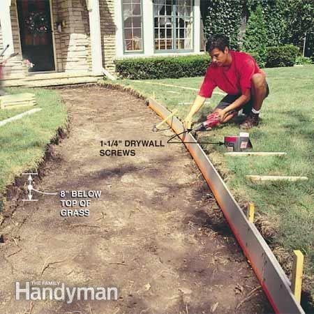 How To Pour A Concrete Sidewalk Home Concrete Walkway