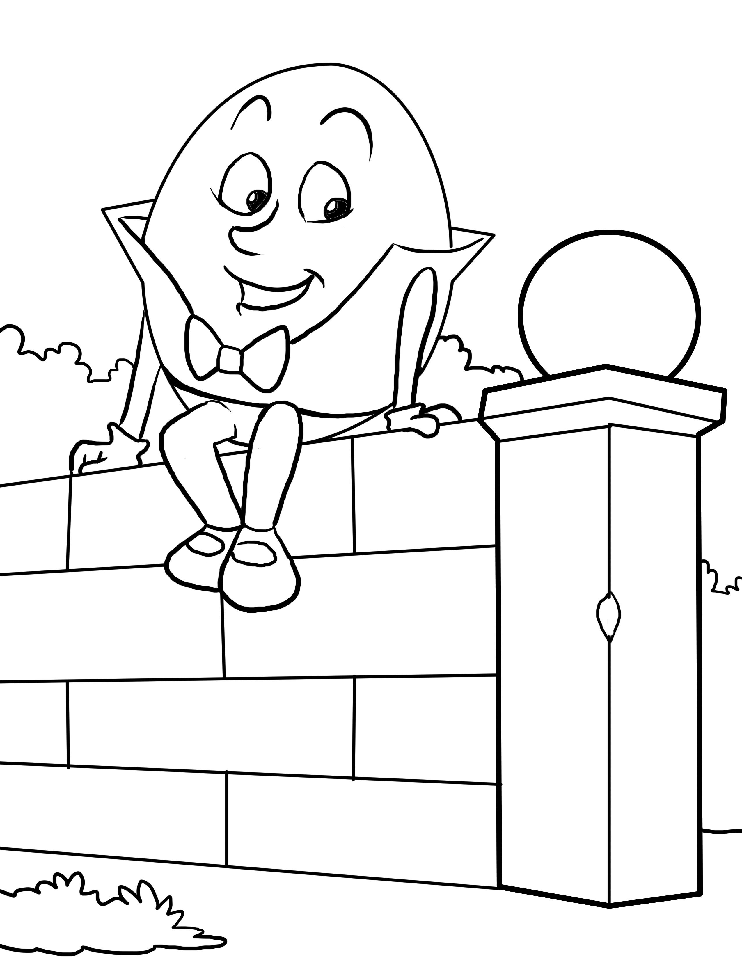 Humpty Dumpty Coloring Worksheet For Nursery Printable