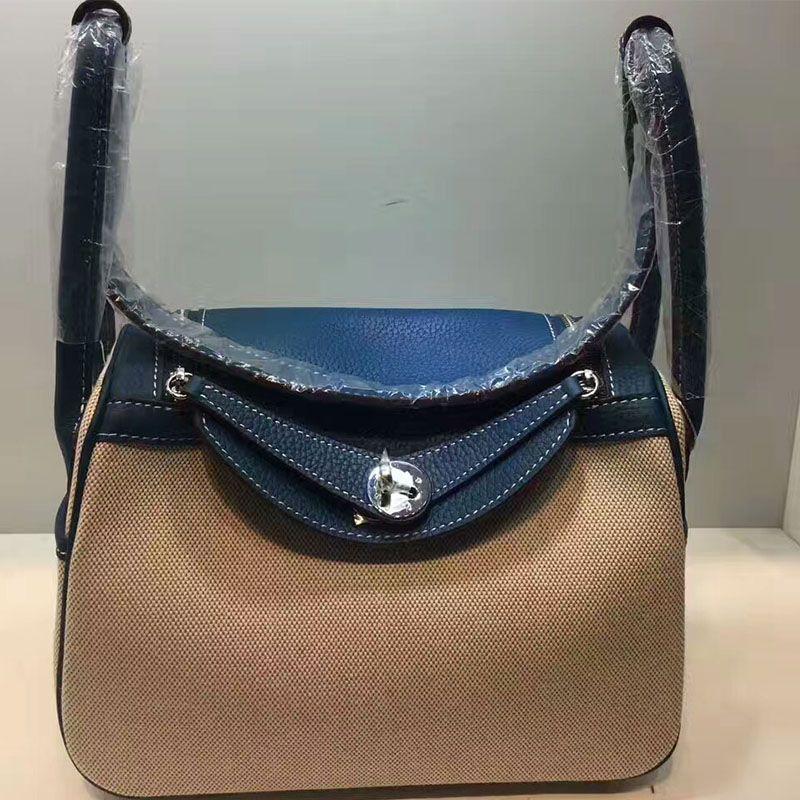 9c55232ee Hermes Lindy Bag Canvas Palladium Hardware In Blue | Hermes bags ...