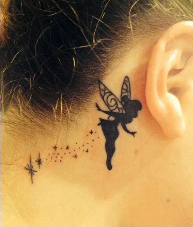 Tinkerbell tattoo behind the ear A great option if you are looking for - Tinkerbell tattoos that go behind your ear.