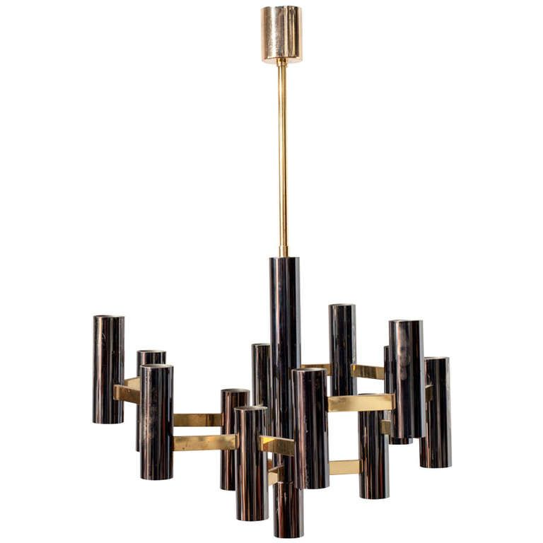 Sciolari Style Black and Brass Multi Chandelier From a unique