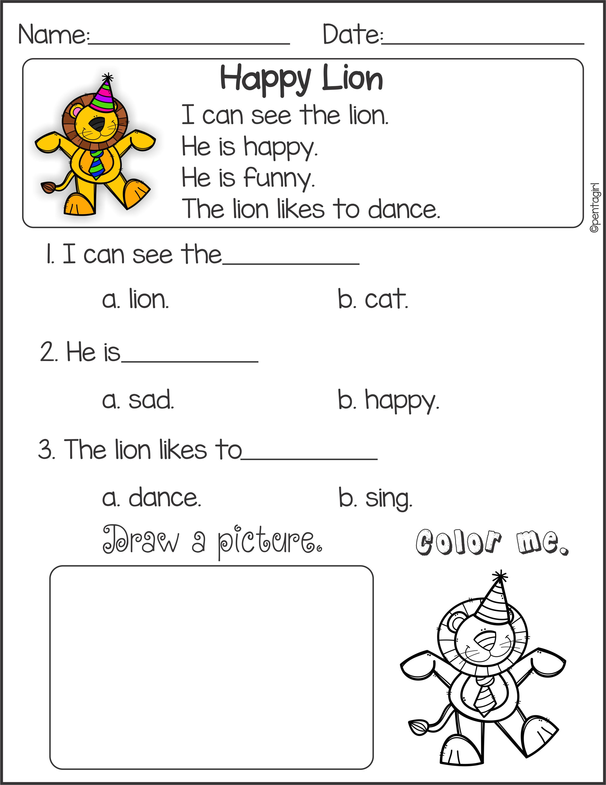Reading Comprehension Worksheet Kindergarten Beautiful