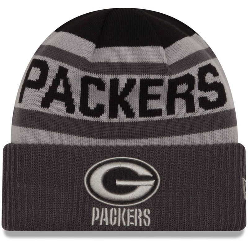 New Era Black/Graphite Green Bay Packers Alternate Biggest Fan 2.0 Cuffed Knit Hat