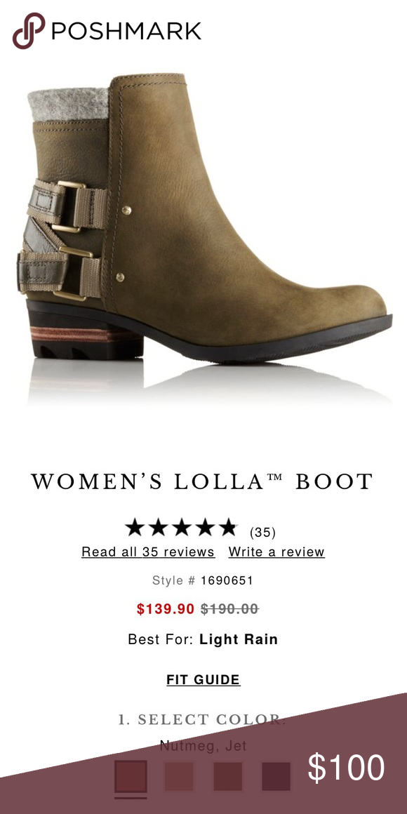 Sorel Lolla Boots Worn a few times, fit slightly smaller than a true 8.5. Best to wear with thin socks or regular socks if you're an 8. Sorel Shoes Ankle Boots & Booties