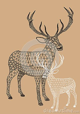 Christmas reindeer with geometric pattern, vector ...