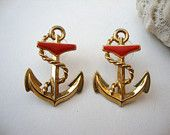 Vintage Nautical Earrings : Striped Anchors vintage nautical dangle earrings