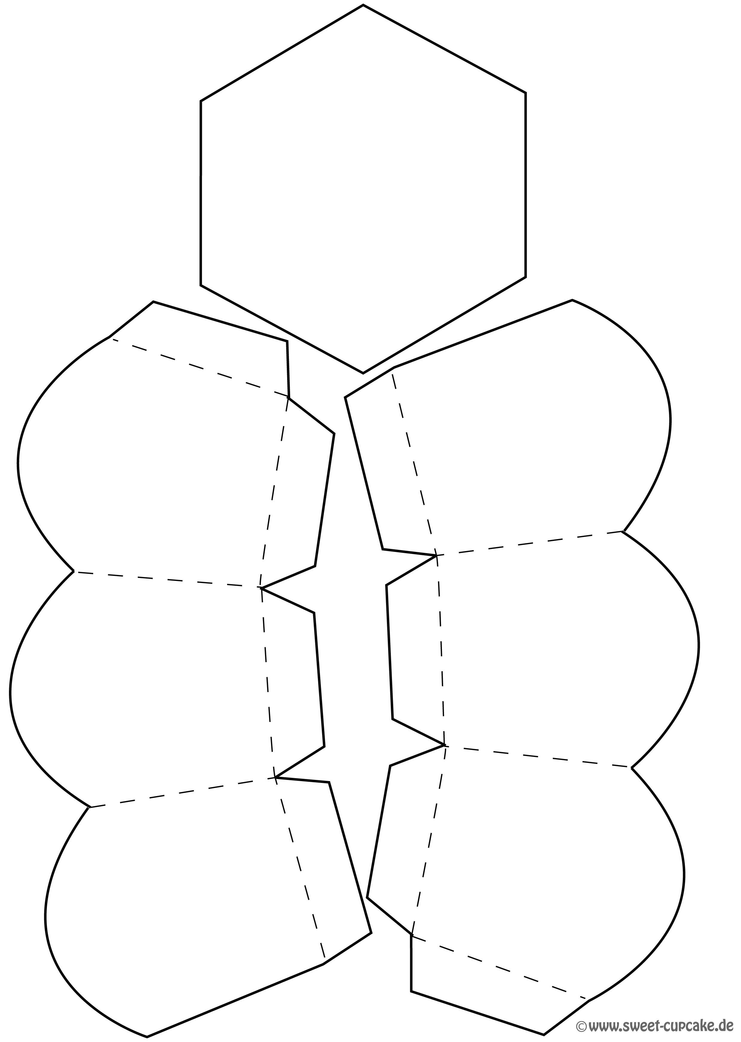 schablone bzw druckvorlage f r eine sechseckige geschenkbox bags and boxes pinterest box. Black Bedroom Furniture Sets. Home Design Ideas