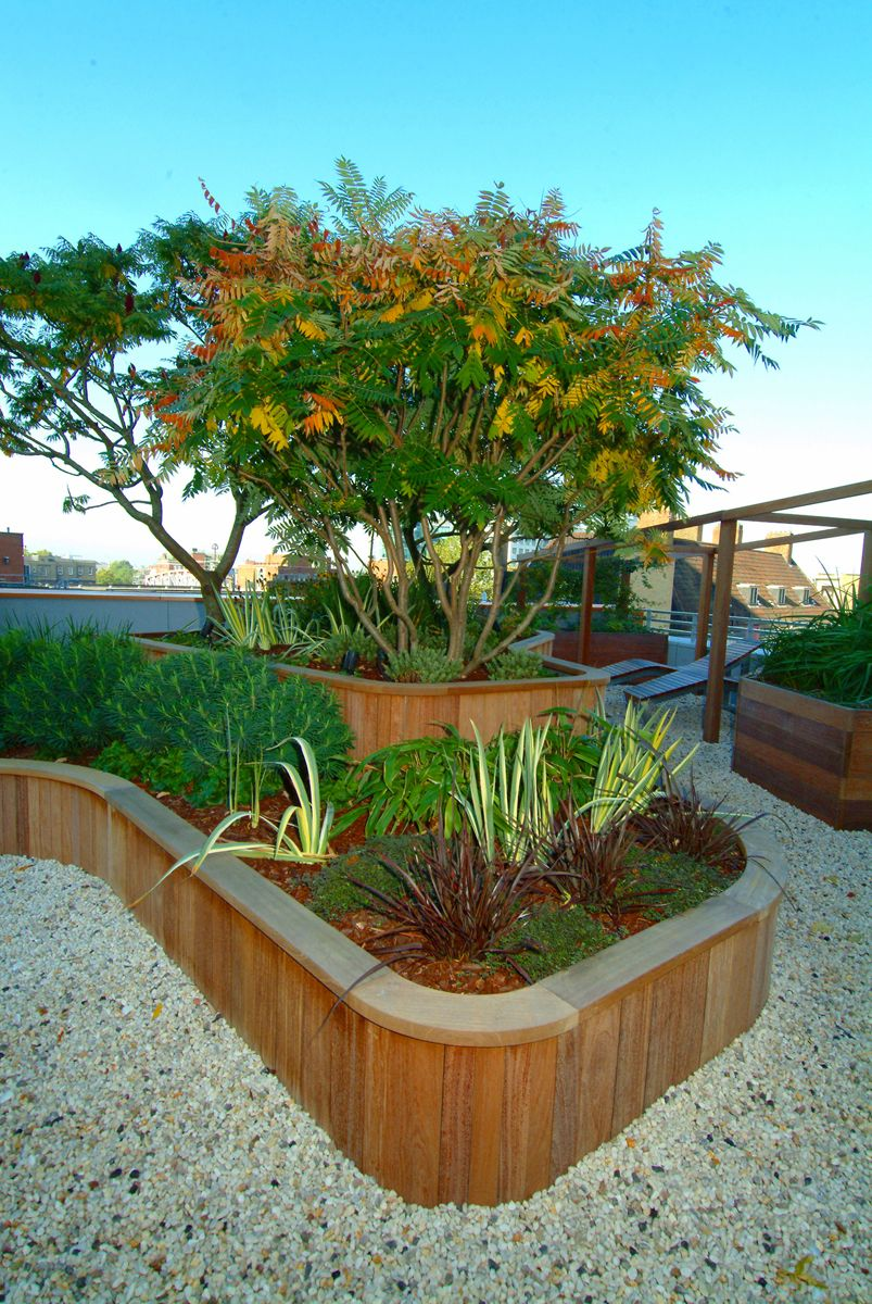 Curved wood low wall with tile top and pebbles Planters