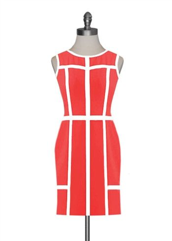 Ark & Co Fine Lines coral and white dress $25