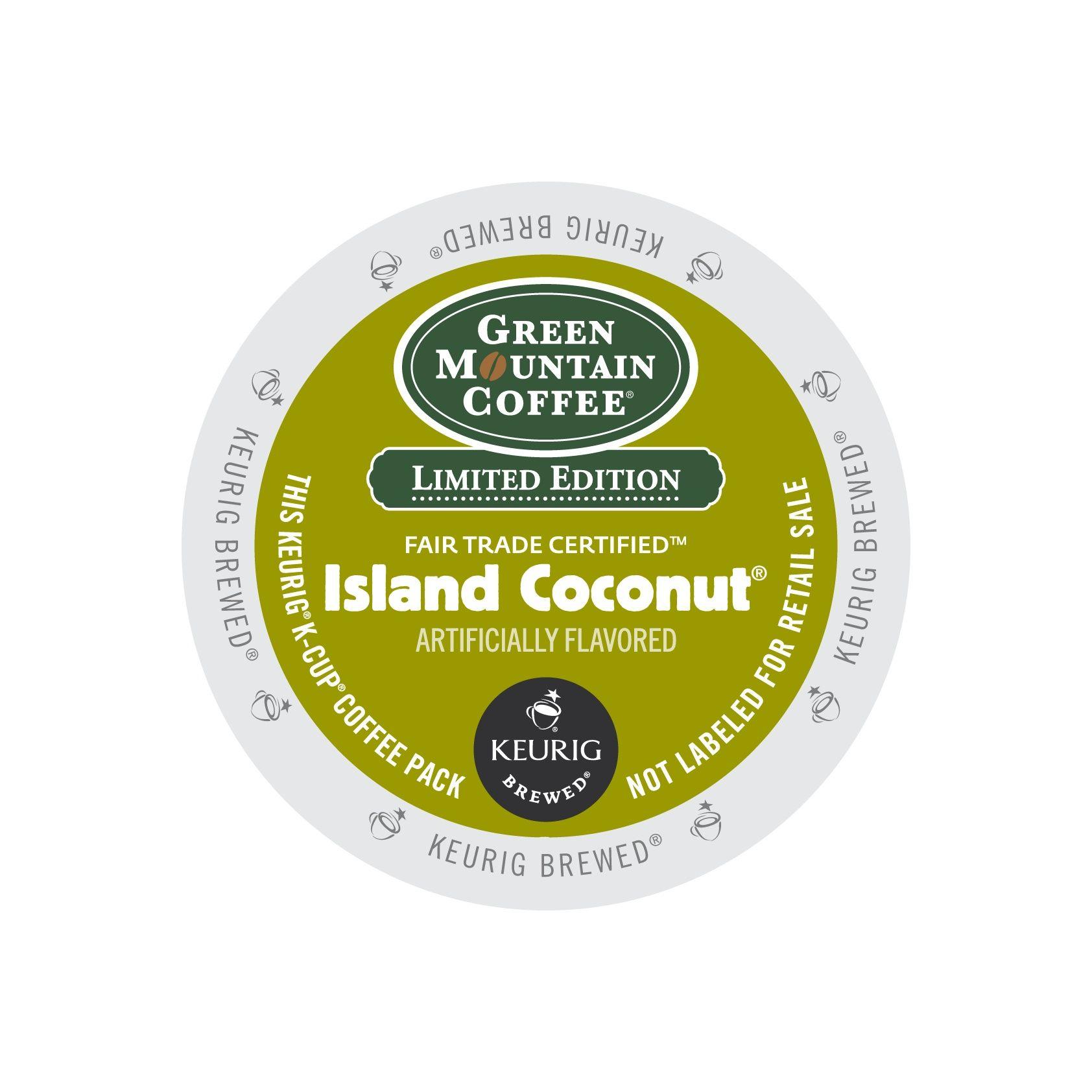 Green mountain coffee fair trade island coconut kcups k