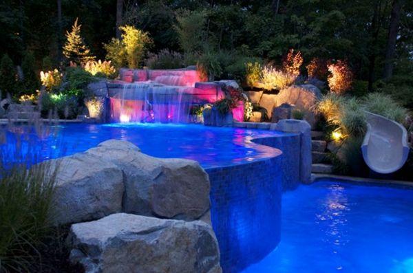 101 Bilder von Pool im Garten - infinity design pool beleuchtung ...