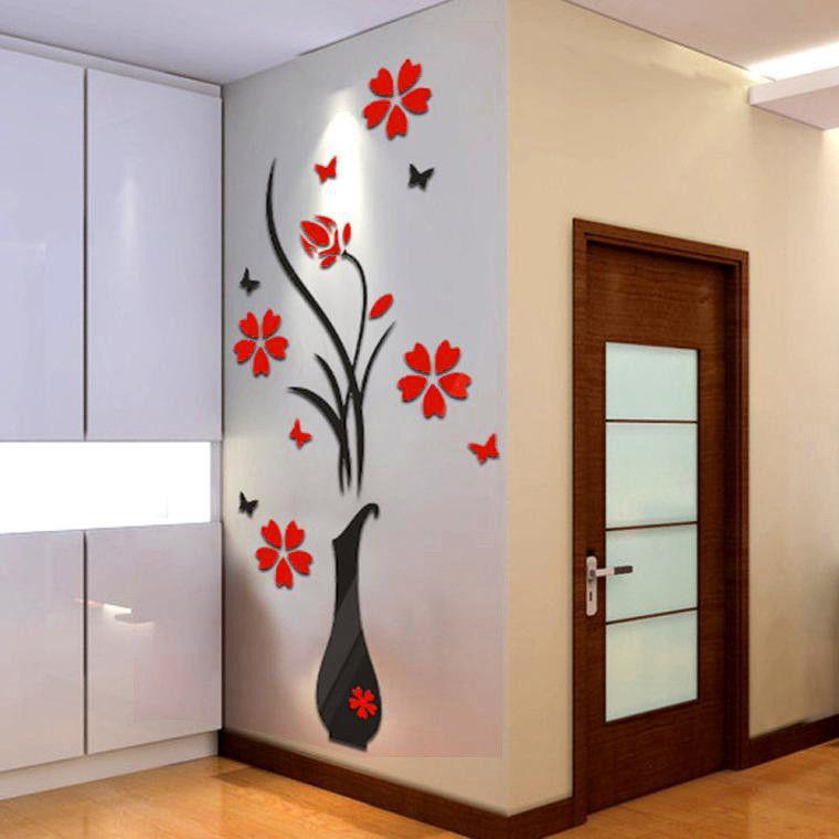 Diy vaas bloem boom kristal arcylic 3d muurstickers home decor kamer decals muur art sticker behang
