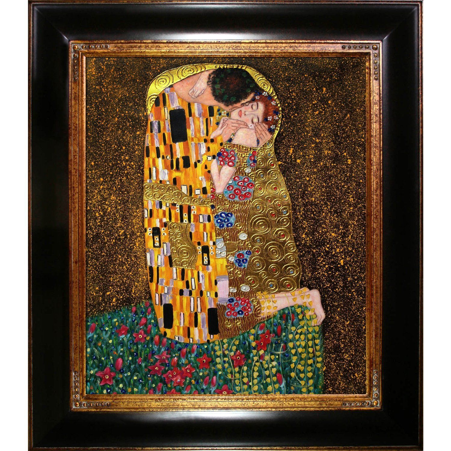 overstockArt The Kiss Full View Luxury Line Framed Oil Reproduction ...