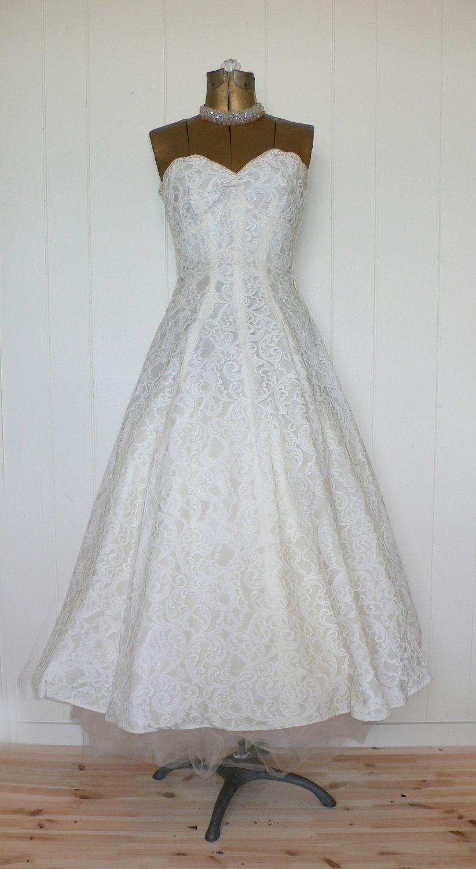 Cream colored vintage wedding dresses  Vintage us Strapless CreamColored TeaLength Wedding Dress  The
