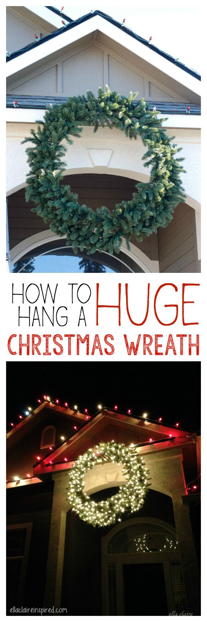 How to Hang a Giant Outdoor Christmas Wreath   Christmas wreaths, Outdoor christmas wreaths ...