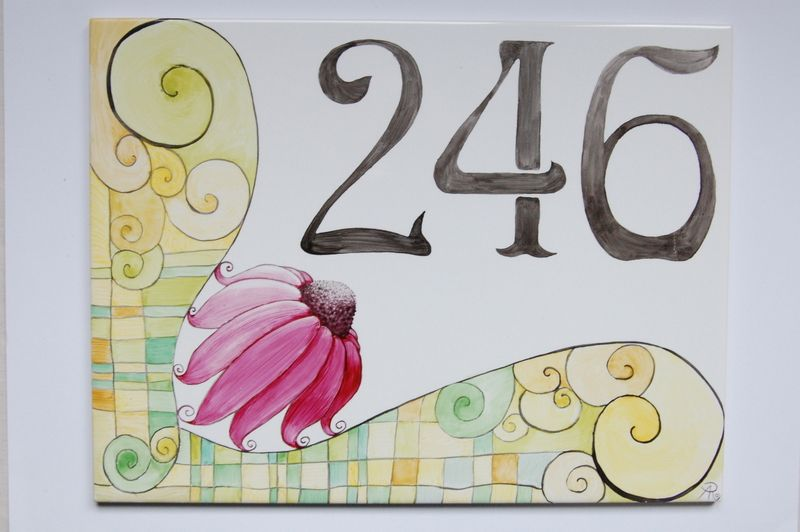 Hausnummer / Namensschild Echinacin handbemalt von meinmalwerk auf DaWanda.com