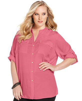 Calvin Klein Plus Size Top, Roll-Tab Sleeve Button-Front - Tops - Plus Sizes - Macy's