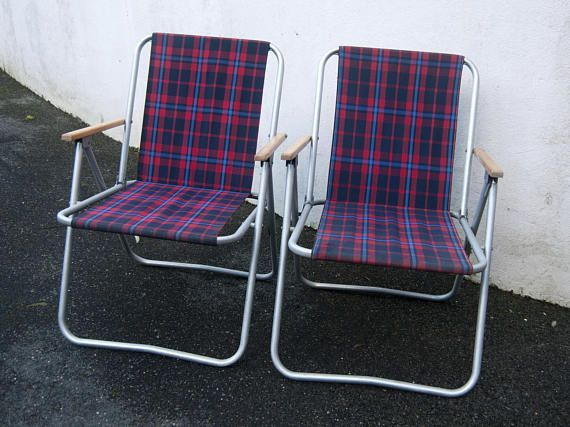 two seat lawn chairs kitchen chair covers canada vintage tartan camping antique aluminium folding purple pink outdoor foldable