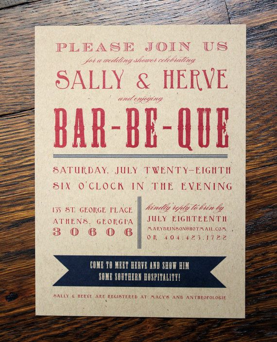 Engagement or wedding shower invitation - bbq   Shower invitations ...