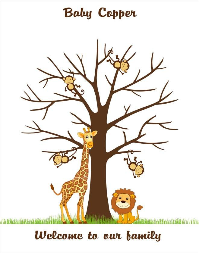 Safari Baby Shower Fingerprint Tree Guest Book Poster Printable