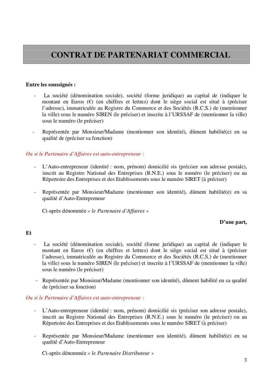 Modele De Contrat De Partenariat Commercial Modele De Contrat Modele De Brochure Partenariat