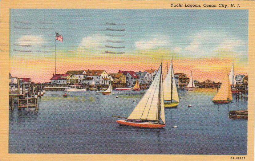 Antique postcard of the yacht lagoon ocean city nj