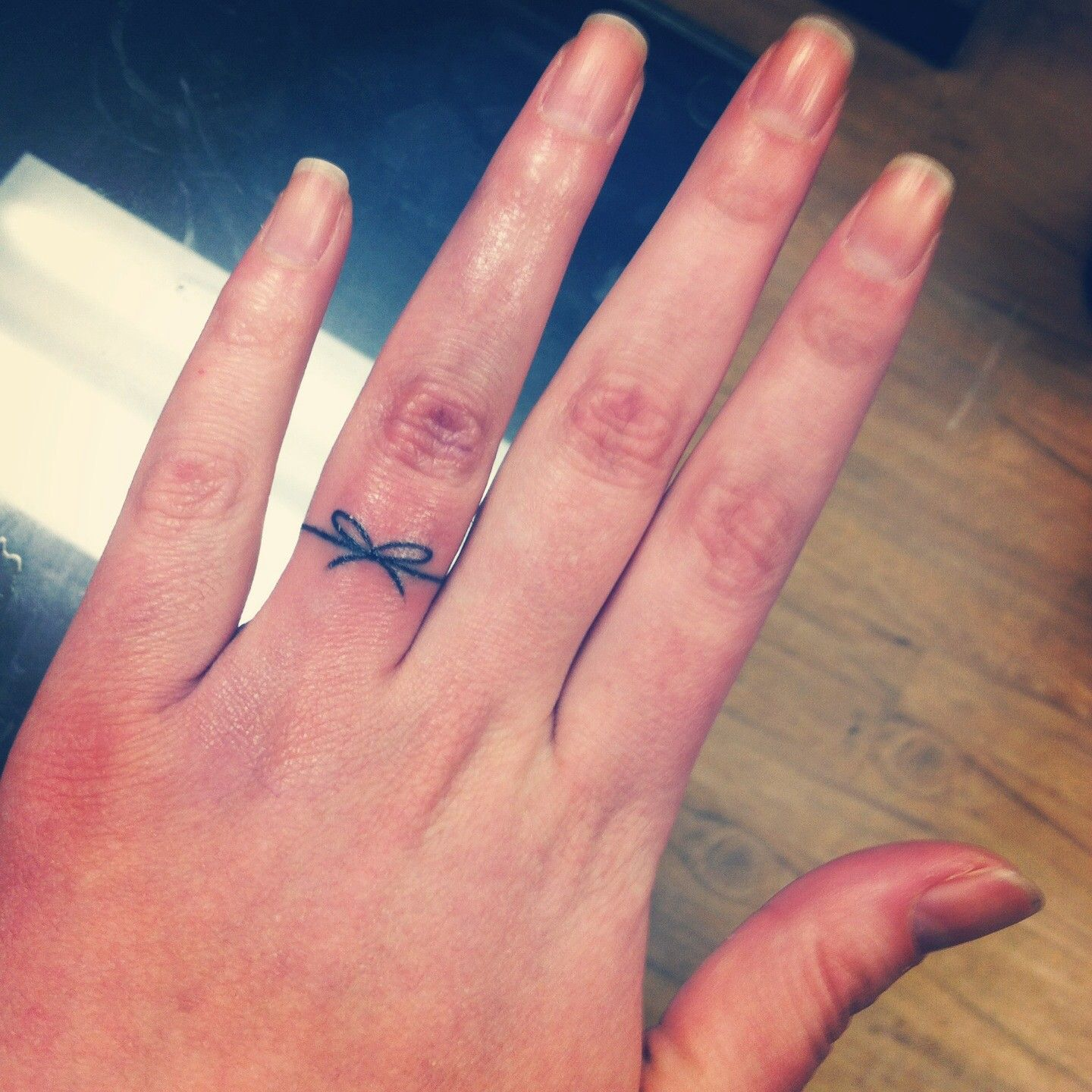 Black Thread Bow Ring Tattoo On Finger For Girls | Ring Finger ...