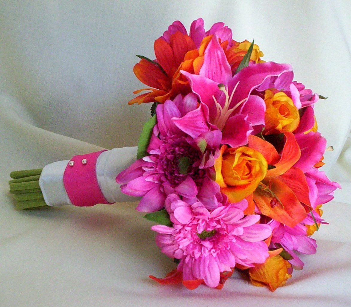 Hot pink purple silk bridal bouquets by amorebride artificial gerberas artificial destination wedding flowers fuschia accessories dhlflorist Gallery