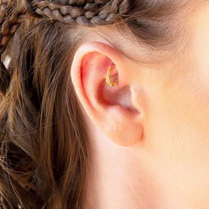 Nose Ring Ear Hoop Tragus Helix Cartilage Earrings Crystal Stainless Steel KA