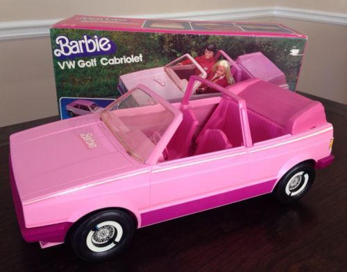 Vintage Rare 1981 Barbie Pink Vw Golf Cabriolet Car With Roof In