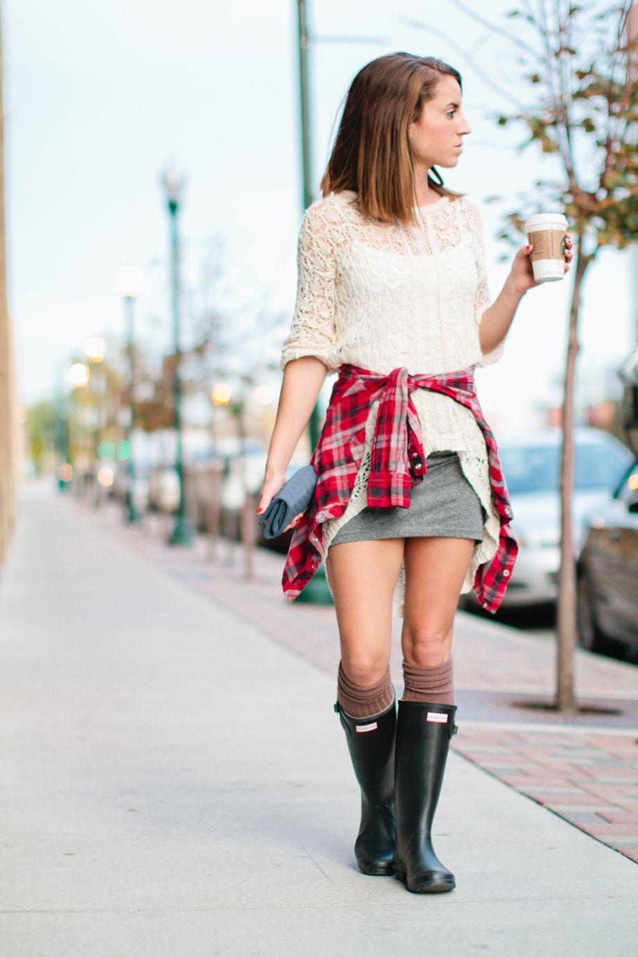 Get the look: Lace Shirt [TJ Maxx] Plaid Shirt [Forever 21] Mini Skirt [H&M] Rain Boots [Hunters] Thigh High Socks [Bonanza]