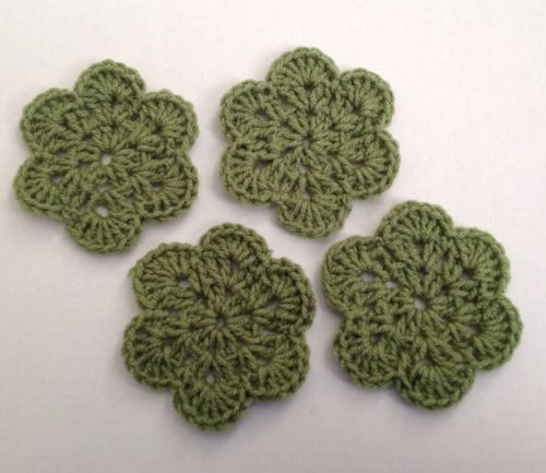 Hand Made  Crochet  Mini Doilies Tea Leaf Green Coasters Set Of 4