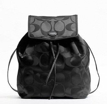 95e0091a49 Coach Signature Nylon  Backpack  Handbag  Purse Black  105.00 ...
