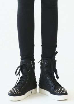Spiked High-Top Casual Sneakers