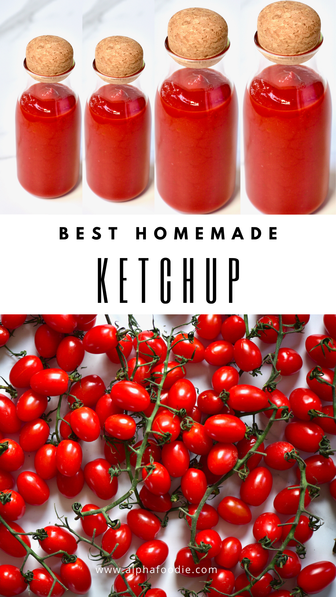 This simple Homemade Ketchup recipe is not only healthier than its store-bought competition, but it is also so much more addictively delicious as you can control the exact amount of sugar, salt and spices added to the sweet tomato blend.