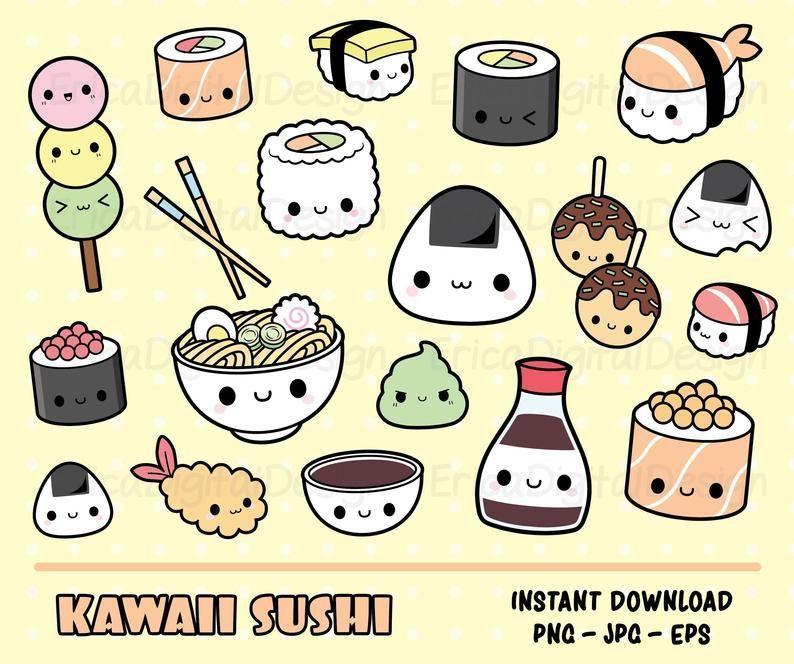 Sushi Kawaii Clipart Set Cute Sushi Clip Art Kawaii Onigiri Maki Ramen Japanese Food Cliparts Planner Clipart Kawaii Clipart Cute Food Drawings Kawaii Doodles
