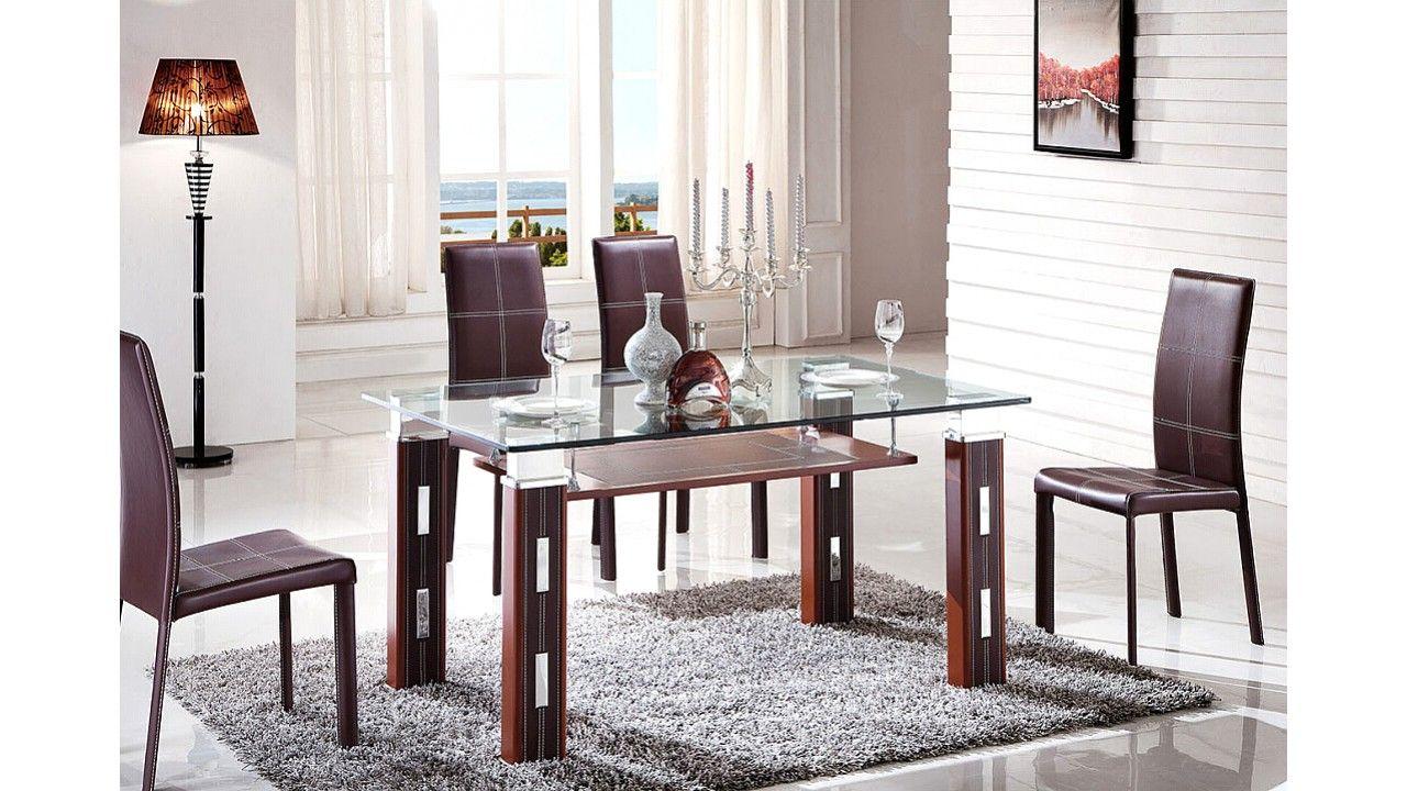Juego de comedor, 6 sillas y mesa con base acero inoxidable (Cod ...