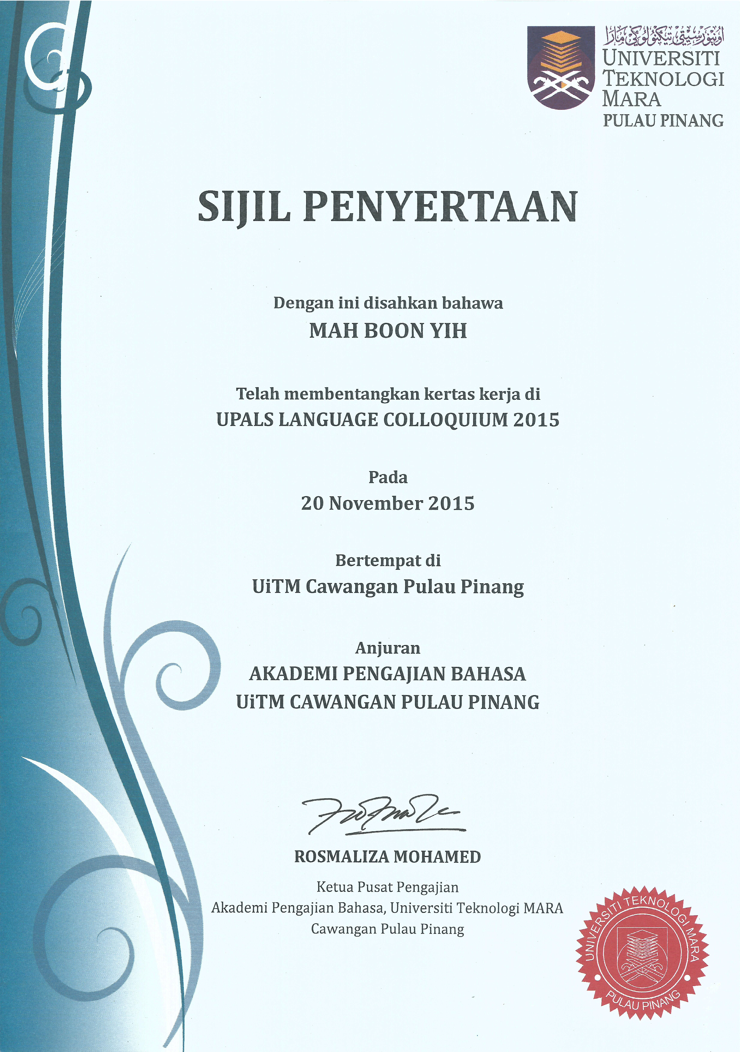 Upals language colloquium 2015 certificate of participation upals language colloquium 2015 certificate of participation yelopaper Choice Image
