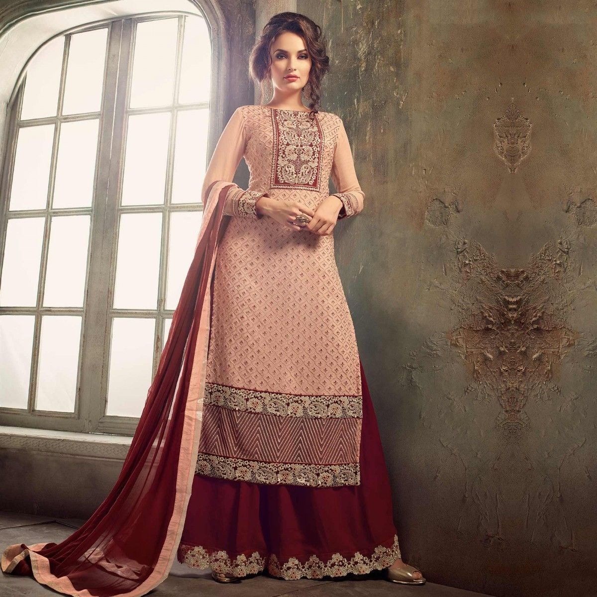 Buy Peach - Red Palazzo Style Suit for womens online India, Best ...