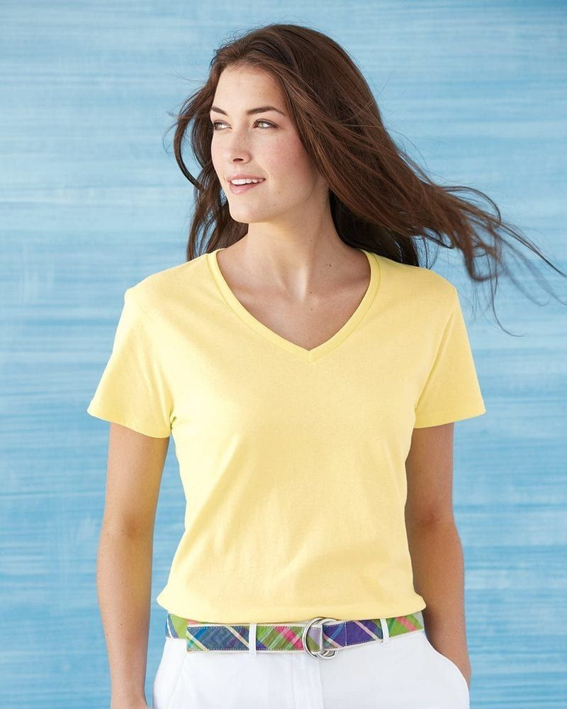 Gildan 5v00l ladies heavy cotton vneck tshirt with