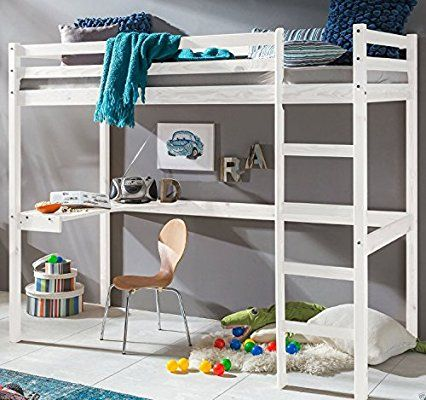 kinderbett hochbett dennis etagenbett mit schreibtisch massiver kiefer 90x200 cm wei - Coolste Etagenbetten Mit Schreibtisch