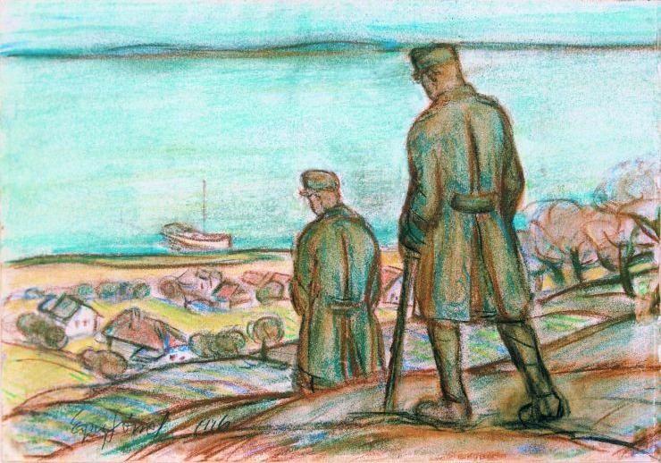 Painting by Jozsef Egry (1883-1951) showing Lake Balaton