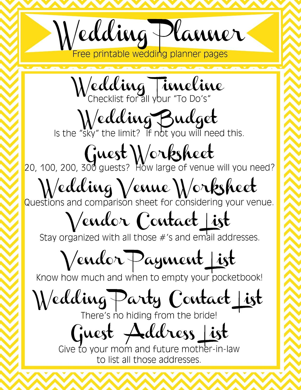 Free Printable Wedding Planner Includes Timeline Budget Guest Worksheet Used To Determine Wedding Planner Printables Wedding Planner List Wedding Printables